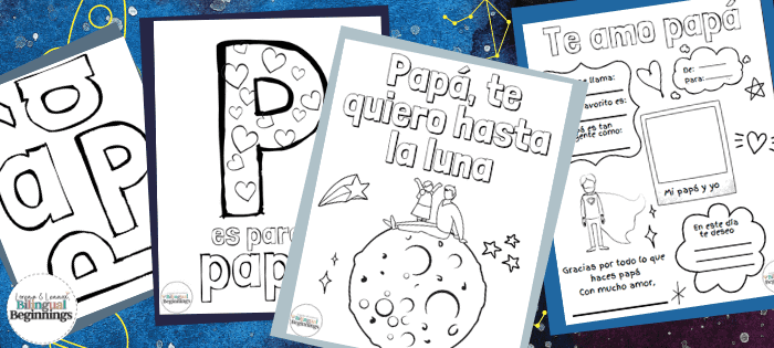 Fathers Day Printable PDF Activities in Spanish for Preschoolers