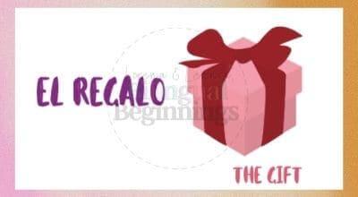 Valentine's Day Printables in Spanish-El regalo Flashcard