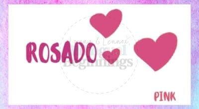 Valentine's Day Printables in Spanish-Rosado flashcard