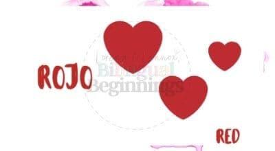 Valentine's Day Printables in Spanish-rojo flashcard