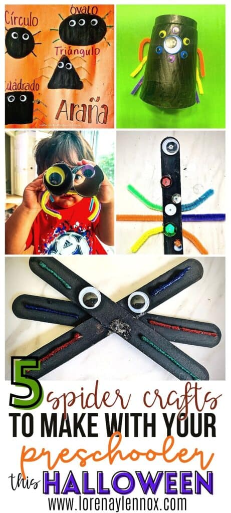 In this post you can find five simple spider Halloween crafts make from household items to do with your toddlers and preschoolers this Halloween