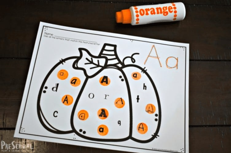 """18.Free Pumpkin Activity Printables – Find the Letter - with Preschool Play & Learn""""How cute are these alphabet playdough mats? The fun pumpkin theme will engage preschoolers as they practice making upper and lowercase letters."""""""