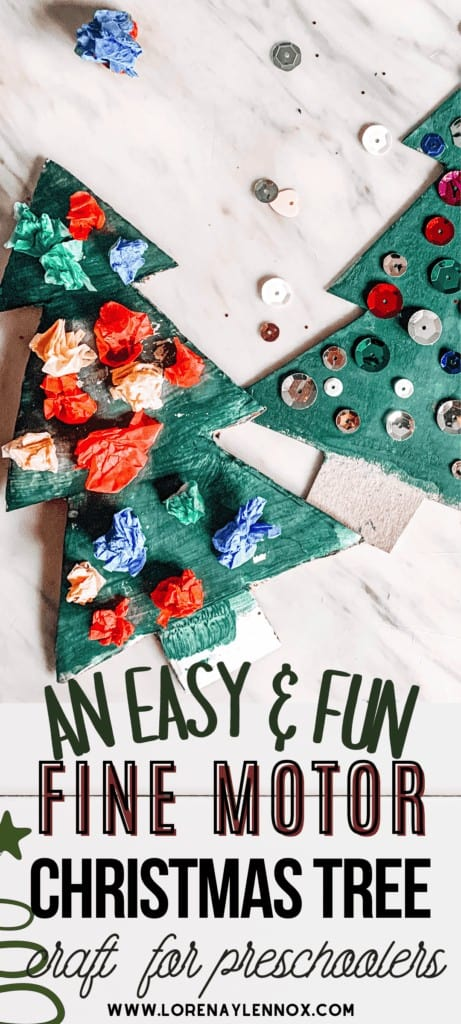 In this post, you can find a tutorial for an easy Christmas tree craft that will work your toddler's and preschooler's fine motor skills!