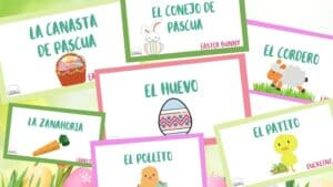 """6. FREE Easter Flashcards in Spanish - with Bilingual Beginnings""""These FREE bilingual Easter flashcards are great because you can use them as a memory game by printing off two sets, or you can use them as labels to play fun games such as sorting."""""""