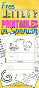 five    FREE letter G printable activities in Spanish    for children ages 3-6. These activities are perfect for the classroom or for fun at home! You can subscribe to get your FREE printable activities at the end of this post!