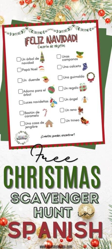 Christmas Scavenger Hunt in Spanish