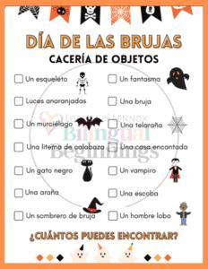 Halloween Scavenger Hunt in Spanish