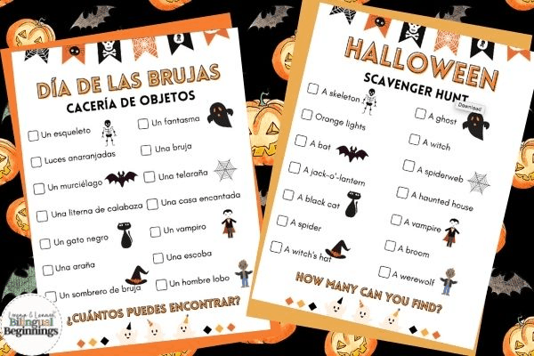 Halloween Scavenger Hunt in Spanish and English