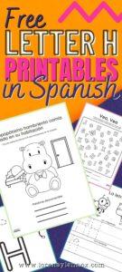 Letter H Printables in Spanish
