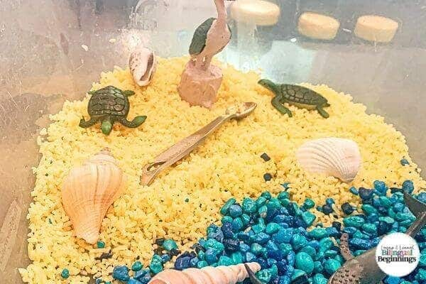 A tutorial on making a beach-themed and ocean-themed sensory bin activity for toddlers and preschoolers.