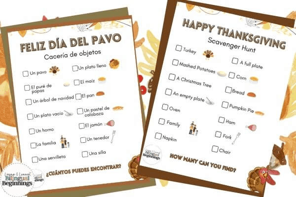 Thanksgiving Scavenger Hunt in Spanish and English