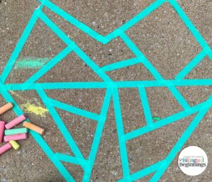 Outline for Mosaic Heart Chalk Activity