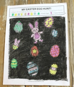 """5. DIY Scratch and Reveal Easter Egg Game - with The Crazy Outdoor Mama""""If you LOVE Easter Egg hunts with the kids, then you'll love this fun Easter Egg Hunt Game that you can do with the kids right at the table!"""""""