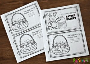 """8. Easter Printables Color Words Reader - with Preschool Play & Learn""""Practice color recognition and color words with this preschool easter worksheets that turns into a reader about colorful eggs in an Easter basket."""""""