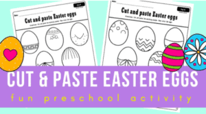 """9. Cut and Paste Easter Eggs - With: Balloons and Planes""""This is a fun set of free printable Easter worksheets for your preschool or kindergarten students. They will get to practice their fine motor skills together with visual discrimination."""""""