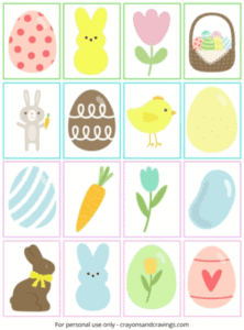 """12. Easter Memory Game - with Crayons and Cravings """"A free printable Easter memory game to play together as a family this Easter. The kids will love finding the 16 matching pairs of colorful cards!"""""""