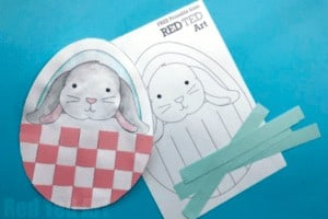 """15. Bunny Basket Weaving - with Red Ted Art""""Find this little bunny in an egg shaped basket, colour and decorate and then add your paper weaving skills. Great for cutting skills and fine motor skills with weaving."""""""