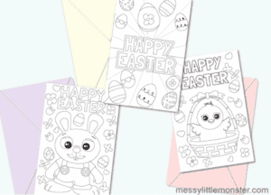 """17. Printable Easter Cards - With: Messy Little Monster""""Kids will love choosing one of the three Easter designs to colour and friends and family will be delighted to receive one of these cute Easter colouring cards."""""""