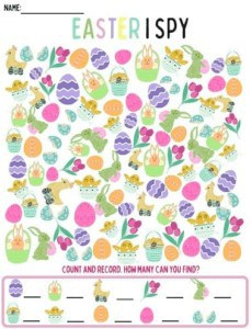 """24. Easter I-Spy Printable - With: Cenzerely Yours""""Your little one will have tons of fun trying to count all the Easter themed icons like bunnies, chicks, Easter Eggs and spring flowers."""""""
