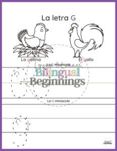 Page 1 is a practice writing an uppercase and lowercase letter G. It also serves as a coloring page with two animals that start with two hard-letter-Gs;la gallina y el gallo.