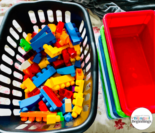 """7. Lego Color Sorting Toss - By: Bilingual Beginnings""""It is a super easy, yet fun way to teach your preschooler about colors. The important part is making it enjoyable. Toddler's attention spans are so short that if it's not entertaining, they will quickly move on to the next shiny object."""""""