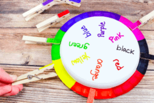 """10. Rainbow Wheel Color Matching Game - By: The Soccer Mom Blog""""This easy DIY color matching game for toddlers is a clever way to practice color recognition and words, and it's adaptable to different ages and skill levels!"""""""