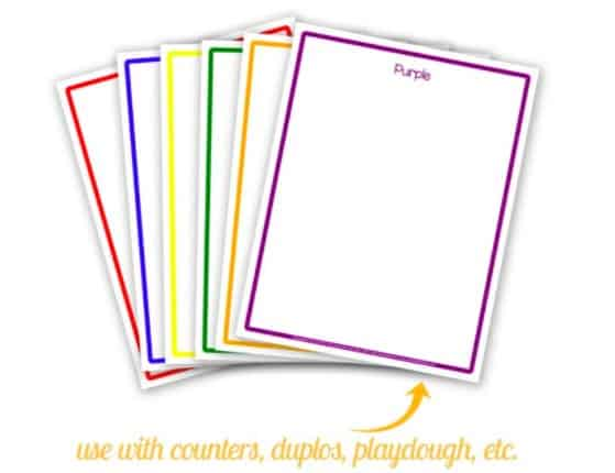 """17.Color Sorting Printables - By: The Art Kit""""Your toddler will love scouring the house or yard for different colored objects while they sort by color with these free color sorting cards from The Art Kit!"""""""