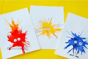 Friendly Monster Watercolour Blow Art - By Adventure in a Box