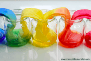 Rainbow Walking Water Science Experiment - By Messy Little Monster