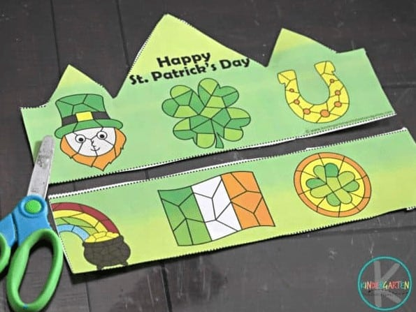 """5. St. Patricks Day Color by Number Printable Hats - with Kindergarten Worksheets and Games""""Celebrate Saint Patricks Day in March these st patricks day color by number hats. Just color, cut, and tape together for a fun st patrick's day crafts for toddlers."""""""