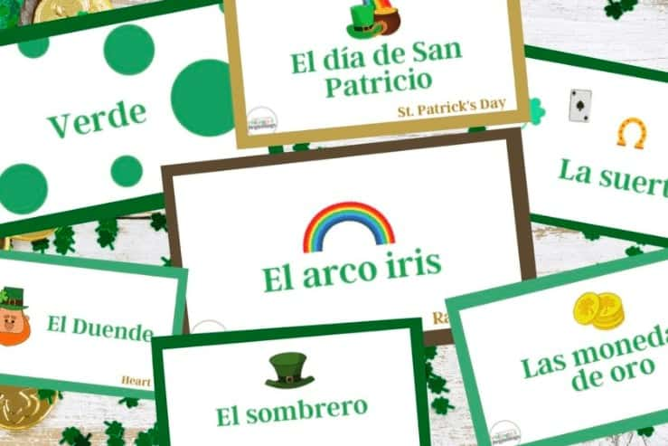 """6. St. Patrick's Day Flashcards in Spanish - with Bilingual Beginnings""""The flashcards are great because you can use them as a memory game by printing off two sets, or you can use them as labels to play fun games such as sorting."""""""