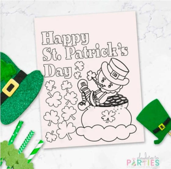 """10. St. Patrick's Day Coloring Pages - with Playdates to Parties""""Grab this pack of 4 free Printable St. Patrick's Day Coloring Pages. With cute sayings, leprechauns, 4-leaf clovers, rainbows, and pots of gold, they're fun for all ages."""""""