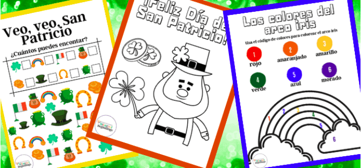 """11. Three St. Patrick's Day Worksheets in Spanish - with Bilingual Beginnings""""Three fun-filled printable activities to learn about St. Patrick's Day in Spanish. The perfect activity for the classroom or at home."""""""