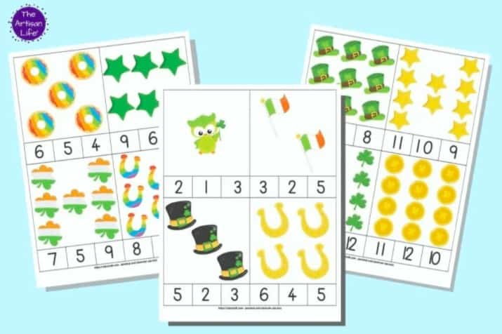 """18. Free Printable St. Patrick's Day Count and Clip Cards - with Fireflies + Mudpies""""These free printable St. Patrick's Day counting clip cards are a fun, low-prep way to help your child improve their counting abilities, number recognition, finger strength, and fine motor skills!"""""""