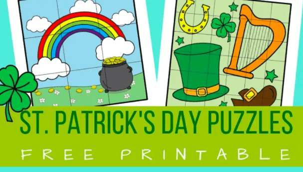 """21. St. Patrick's Day Puzzles - with Planes and Balloons""""Here is a quick and fun St. Patrick's Day activity for preschoolers and kindergarteners – two sets of cut and paste St. Patrick's Day puzzles."""""""