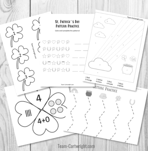 """23. St. Patrick's Day Worksheets for Learning Fun - with Team Cartwright""""Five free printable St. Patrick's Day worksheets that your kids will adore."""""""