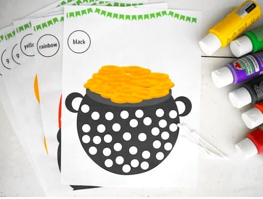 """24. St. Patrick's Day Q-Tip Dot Painting - With: Our Kid Things""""St. Patrick's Day Q-Tip Dot Painting is the perfect painting activity, and fun for all. Not too messy, but a great process using different painting supplies."""""""