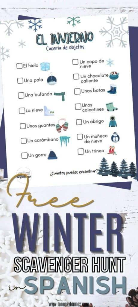 Winter Scavenger Hunt in Spanish