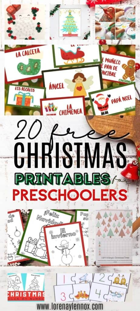 In this post, you can find 20 printable PDF Christmas worksheets for preschoolers ages 3-5. These activities are great for the classroom or at home.
