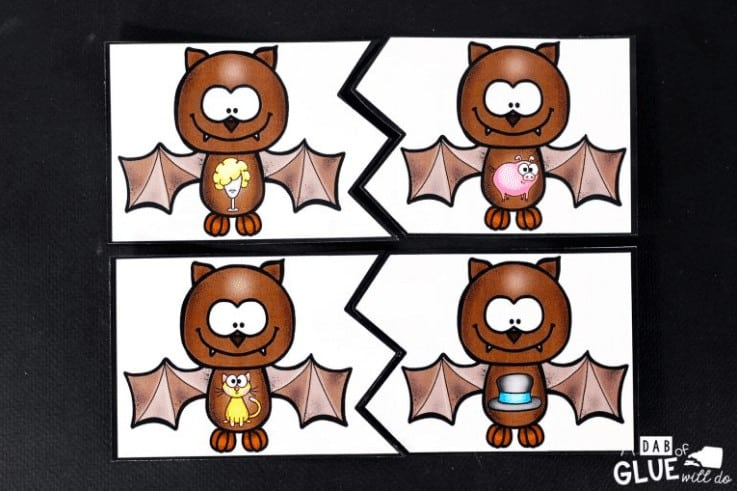 """6. Rhyming Bats Literacy Center - with A Dab of Glue Will Do""""Practice rhyming skills for pre-readers with these fun bat printables."""""""