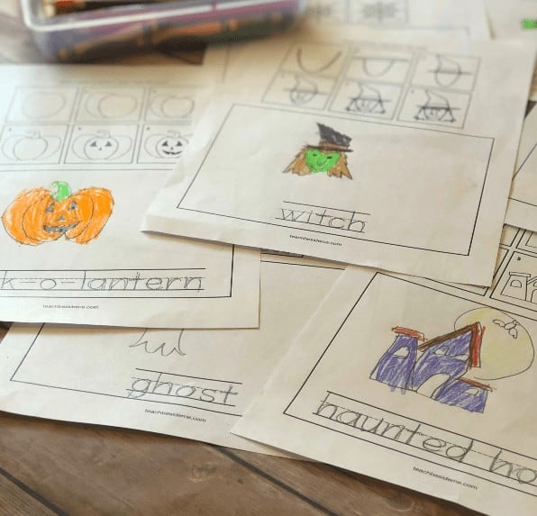 """8. How to Draw Halloween Pictures: Draw and Write Printable - with Teach Beside Me""""With Halloween coming, I thought it would be a great time to teach how to draw halloween pictures. But, these are not just drawing pages, it also teaches them how to spell and write the word! """""""