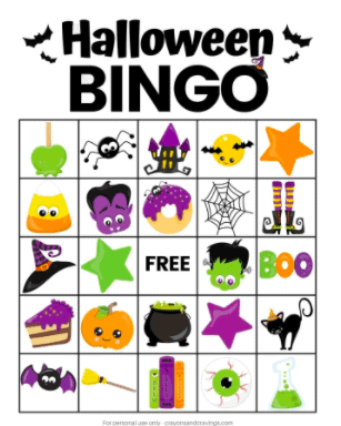 """12. Halloween Bingo - with Crayons and Cravings""""Halloween Bingo is a fun Halloween game for kids to play at school or at home. Download a set of free printable bingo cards and calling cards here!"""""""