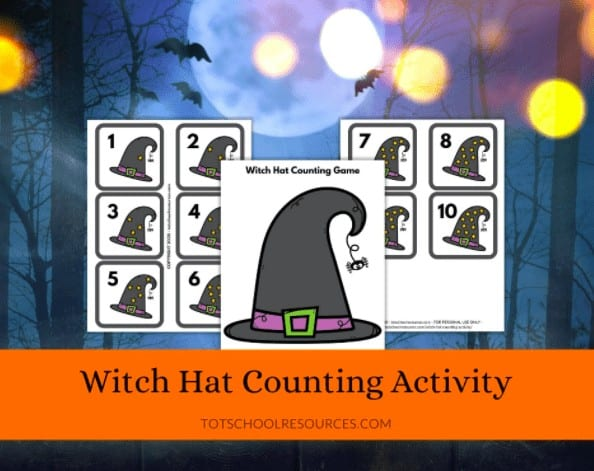"""15. Halloween Witch Hat Counting Activity - with Tot School Resources""""Kids will love practicing counting with this fun witch hat counting game. Print the pieces and start counting!"""""""