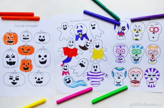 """17. Halloween Design and Color Pages - with Picklebums""""These Halloween design and colour pages are quick and easy to print and will keep the kids busy for ages!"""""""