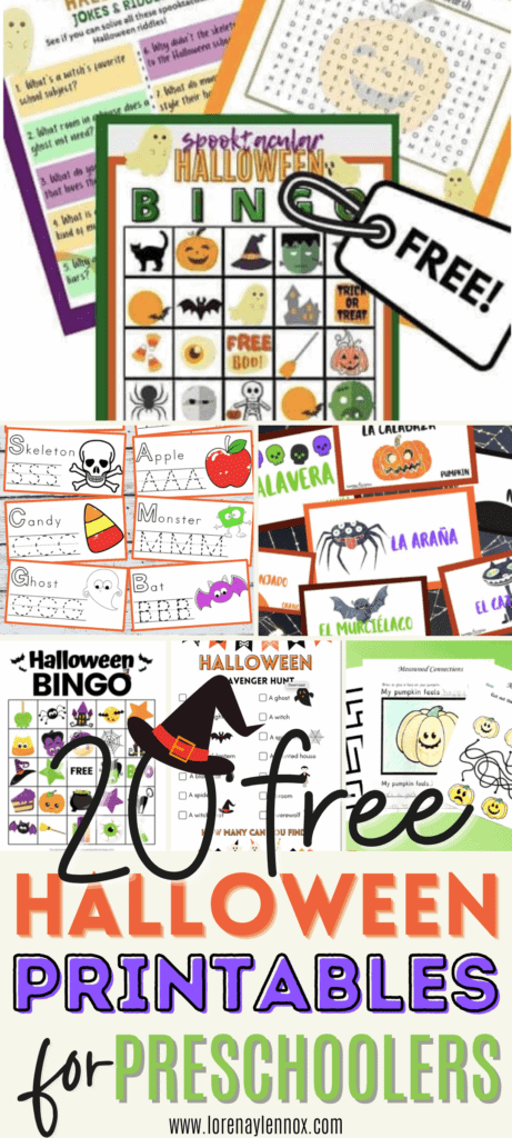 In this post you can find 20 Halloween Printables for Preschoolers ages two to five. These printables are great for the classroom or home!