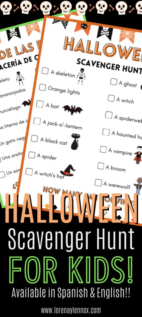 Halloween Scavenger Hunt in Spanish for Kids