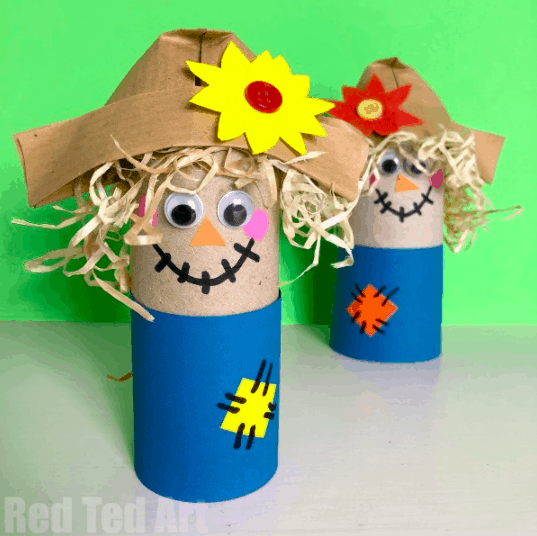 2.Toilet Paper Roll Scarecrow - with Red Ted Art