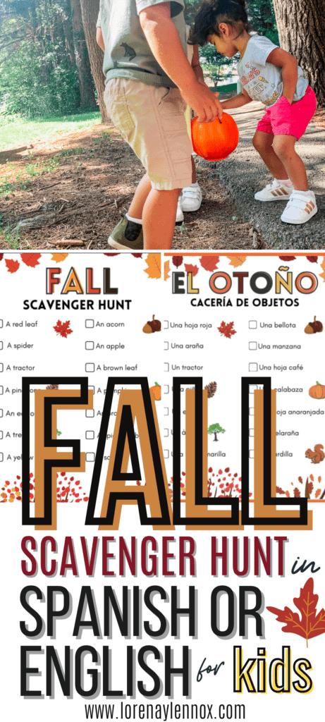 Fall Scavenger Hunt in Spanish