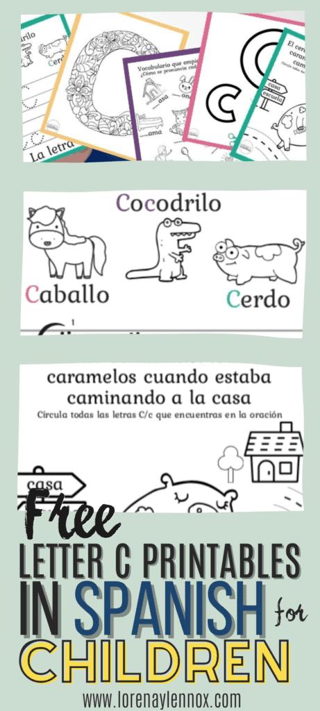 Letter C printables in Spanish
