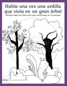 Letter A printables in Spanish